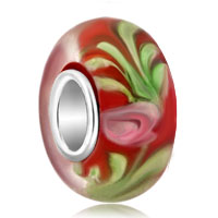 Charms Beads - green emerald flower red ruby beadss fit all brands murano glass beads charms bracelets Image.