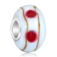 Charms Beads - ivory white pink dots brown stripes murano glass fits beads charms bracelets fit all brands Image.