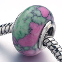 Murano Glass Jewelry - pink green block turquoise murano glass beads charms bracelets fit all brands Image.