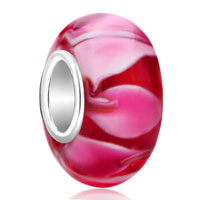 Sterling Silver Jewelry - red pink petals 925  sterling silver jewelry murano glass beads charms bracelets fit all brands Image.