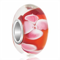 Sterling Silver Jewelry - garnet red pink flower bubble 925  sterling silver murano glass beads charms bracelets fit all brands Image.