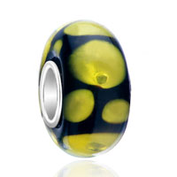 Sterling Silver Jewelry - black yellow dots 925  sterling silver jewelry murano glass beads charms bracelets fit all brands Image.