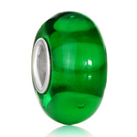 Green Hide Circle 925  Sterling Silver Solid Core Gift Jewelry Fits Murano Glass Beads Charms Bracel