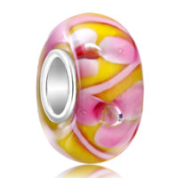 Sterling Silver Jewelry - yellow beautiful pink petal 925  sterling silver gift jewelry fits murano glass beads charms bracelets fit all brands Image.