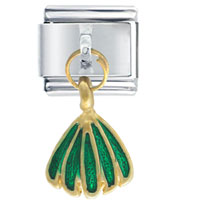 Italian Charms - golden italian charm bracelet dangle green skirt dangle italian charm Image.