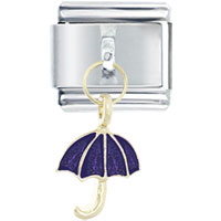 Italian Charms - umbrella purple february italian charms dangle italian charm Image.