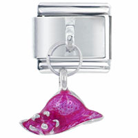 Italian Charms - hat pink italian charm dangle italian charm Image.