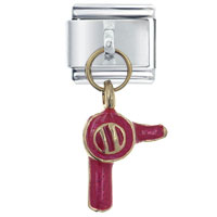 Italian Charms - hair dryer red italian charm dangle italian charm Image.