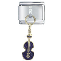 Italian Charms - violin purple italian charms dangle italian charm Image.