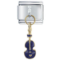 Italian Charms - violin blue italian charms dangle italian charm Image.
