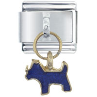 Italian Charms - dog blue italian charm dangle italian charm Image.
