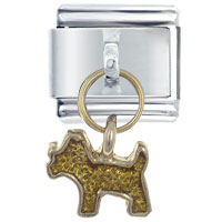 Italian Charms - dog yellow italian charm dangle italian charm Image.