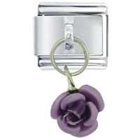 Italian Charms - rose purple birthstones jewelry italian charm dangle italian charm Image.