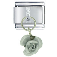 Italian Charms - rose silver italian charms dangle italian charm Image.