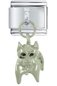 Italian Charms - silver watch dog italian charm dangle italian charm Image.