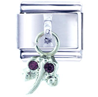 Italian Charms - purple studded dragonfly italian charm dangle italian charm Image.