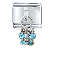 Italian Charms - light blue studded butterfly italian charm dangle italian charm Image.