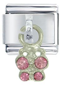 Italian Charms - butterfly pink italian charms dangle italian charm Image.