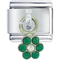 Italian Charms - flower green birthstones jewelry italian charm dangle italian charm Image.