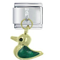 Italian Charms - golden italian charm bracelet green duck dangle italian charm Image.