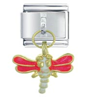 Italian Charms - dragonfly pink italian charms dangle italian charm Image.