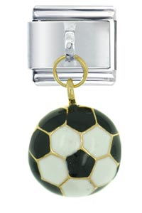 Italian Charms - soccer ball italian charm dangle italian charm Image.