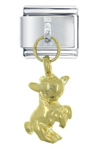 Italian Charms - dangle golden lamb italian charm dangle italian charm Image.