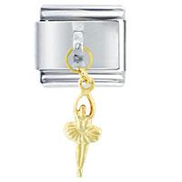 Italian Charms - golden italian charm bracelet ballerina dancer dangle dangle italian charm Image.