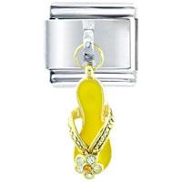 Italian Charms - yellow fancy studded sandal dangle italian charms Image.