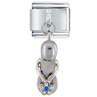 Italian Charms - silver blue studded sandal dangle italian charms Image.