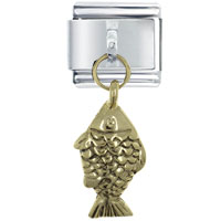 Italian Charms - dangle golden tone severum fish 9 mm italian charm stainless steel dangle italian charm Image.