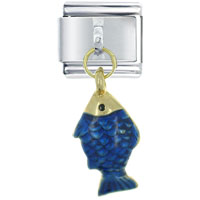 Italian Charms - golden italian charm bracelet oscar fish dangle italian charm Image.