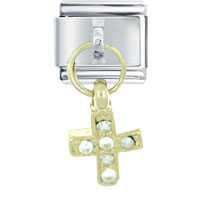 Italian Charms - dangle golden rhinestone celtic cross italian charm dangle italian charm Image.