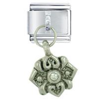 Italian Charms - silver rhinestone emblem italian charms dangle italian charm Image.