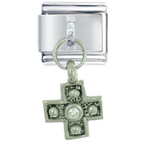 Italian Charms - clear rhinestone celtic cross silver religious charms italian dangle italian charm Image.