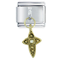 Italian Charms - golden italian charm rhinetone celtic cross religious dangle italian charm Image.