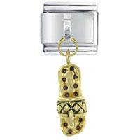 Italian Charms - golden italian charm bracelet amethyst sandal dangle dangle italian charm Image.