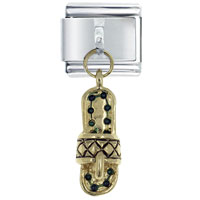 Italian Charms - golden tone dangle green accented beach sandal 9 mm italian charm dangle italian charm Image.