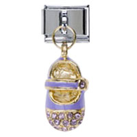 Italian Charms - dangling little shoe with purple crystal cz italian charms Image.