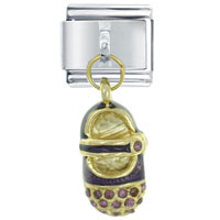 Italian Charms - baby shoe purple february italian charms dangle italian charm Image.