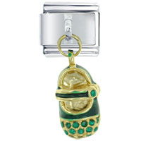 Italian Charms - crystal baby shoe green work &  leisure italian charms dangle italian charm Image.