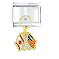 Italian Charms - united states canada flag dangle italian charms Image.
