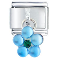 Italian Charms - dangle pale blue flower birthstones jewelry italian charm dangle italian charm Image.