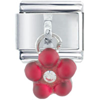 Italian Charms - dangle red flower rhinestone birthstones jewelry italian charm dangle italian charm Image.
