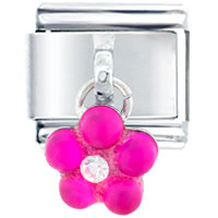 Italian Charms - pink studded flower gift italian charm dangle italian charm Image.