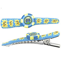 Teens & Kids Jewelry - butterfly and sun fimo round hair clip Image.