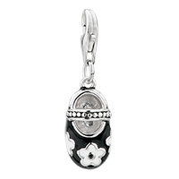 Sterling Silver Jewelry - white flower shoes clasp pendant fashion italian dangle european beads fit all brands Image.