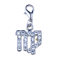 Italian Charms - clear crystal art clasp charms dangle bracelet italian dangle italian charm Image.