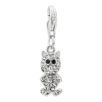 Charms Beads - 925  sterling sliver clear piggy lobster clasp pendant dangle european beads fit all brands Image.