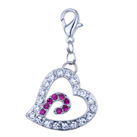 Italian Charms - heart clear pink crystal cz clasp dangle italian charms Image.